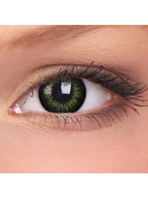 barevné čočky dioptrické BIGEYES party green (2 čočky)