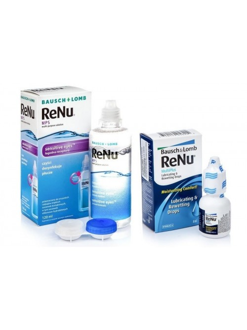 roztok ReNu MPS Sensitive Eyes 120 ml + oční kapky ReNu MultiPlus Drops 8ml